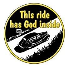 """NSI - Great Retro Image God INSIde Keep Right Sticker - 4.25"""" - Weather Resistant, Long Lasting for Any Surface"""