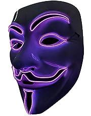 SOUTHSKY LED Masker V voor Vendetta Masker EL-draad Oplichten voor Halloween Kostuum Cosplay Feest (wit gezicht blauw neonlicht) (Purper)