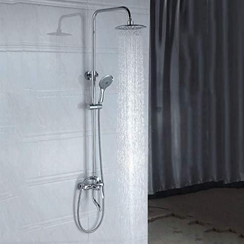 ウォールマウントシャワーロッド3機能シャワーシステムシェルフハンドシャワー付き蛇口シャワーセットシャワーロッドシャワーヘッドレインシャワーの高さ調整可能
