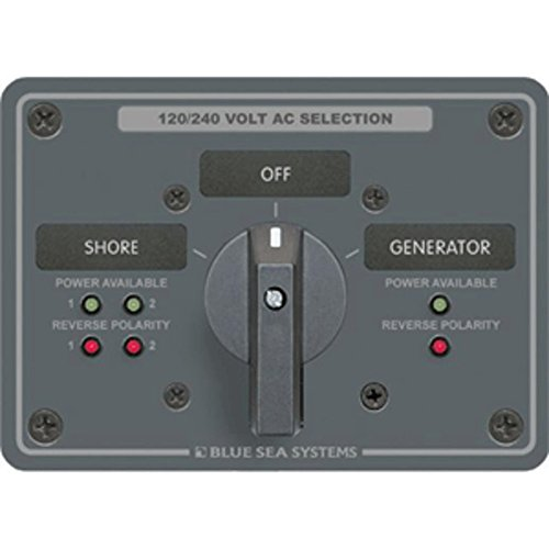 Blue Sea AC Rotary Switch Panel 65 Ampere 2 Positions + OFF, 4 Pole Marine , Boating Equipment