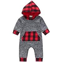 Infant Toddler Baby Girls Boys Christmas Long Sleeve Jumpsuit Plaid Romper Hooded Bodysuit Playsuit Xmas Pajamas Clothing Set