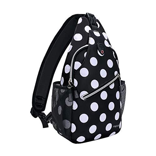 MOSISO Sling Backpack,Travel Hiking Daypack White Dot Rope Crossbody Chest Bag