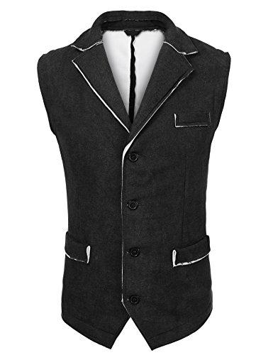 COOFANDY Men's Suit Vest Casual Suede Leather Vest Jacket Slim Fit Wedding Waistcoat ()