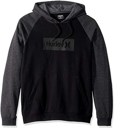 Hurley Men's Long Sleeve Fleece Pullover Hoodie, Black Heather/Dark Grey, L
