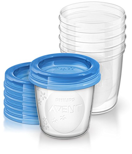 Philips Avent SCF639/05 Aufbewahrungssystem für Babynahrung, 5x 240 ml, inklusive Deckel