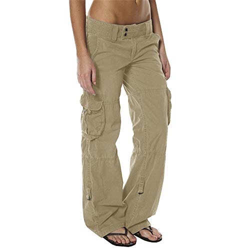 Women's Loose Fit Cargo Pants Outdoor Multi Pockets Quick Dry Jungle Hiking Military Trousers Khaki