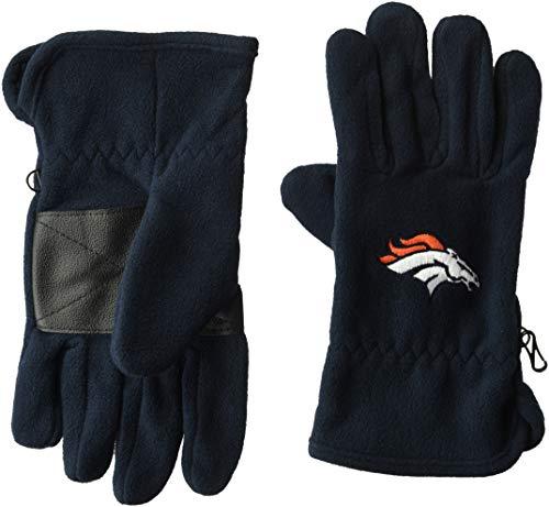 OTS NFL Denver Broncos Male Fleece Gloves, Navy, Mens