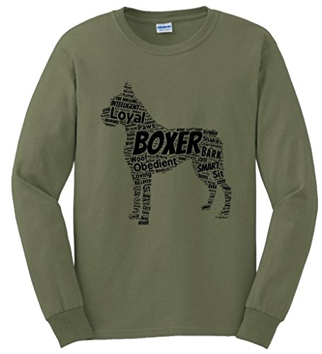 Dog Clothes Boxer Word Art Dog Puppy Owner Gift Long Sleeve T-Shirt Small MlGrn