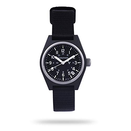 Marathon Watch WW194015-BK-NGM General Purpose Quartz Swiss Made Military Field Army Watch with Date (GPQ), Tritium, and Sapphire Crystal (41mm, Black, No Government Markings)