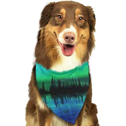Angel kuy Dog Bandana Northern Lights Triangle Bibs Scarf Printing Kerchief Set Accessories Dogs Cats Pets ()