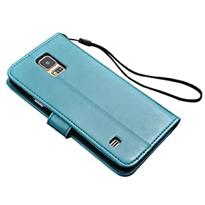 Wallet PU Leather Case Cover with Credit ID Card Slots + Stylus Pen +Screen Protector Fit For Samsung Galaxy S5 i9600 (Blue)