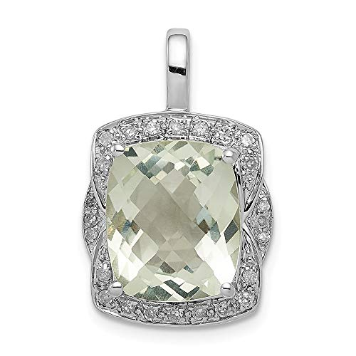 925 Sterling Silver Diamond Green Quartz Pendant Charm Necklace Gemstone Fine Jewelry Gifts For Women For Her