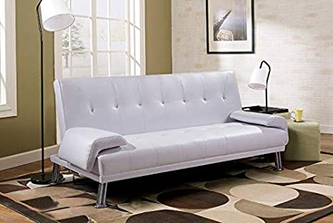 Divano Letto Bianco Ecopelle : Gstore divano letto ecopelle bianco reclinabile cuscini 3 posti