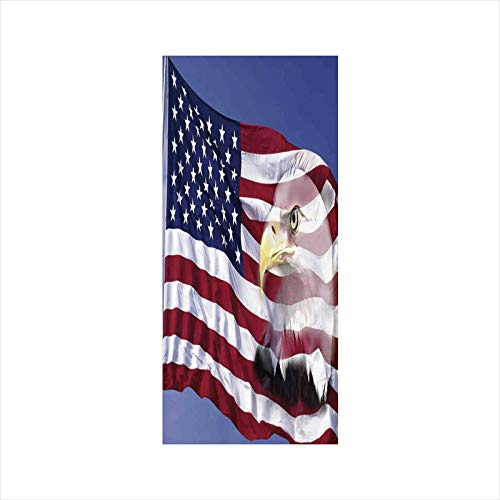 Decorative Window Film,No Glue Frosted Privacy Film,Stained Glass Door Film,Bless America Flag in The Wind with Eagle Icon Double Exposure Citizen Image,for Home & Office,23.6In. by 47.2In Multi