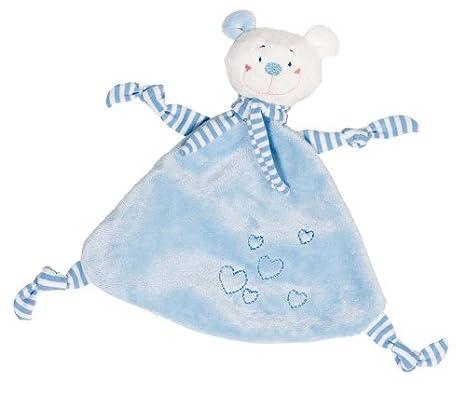 Cause - Mantita de arrullo con osito de peluche, color azul: Amazon.es: Bebé