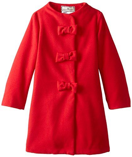 Widgeon Girls' Big Faux Wool Triple Bow Coat, Red, 12