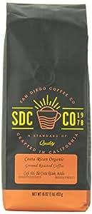San Diego Coffee Ground Roasted Coffee, Costa Rican Organic, 32 Ounce