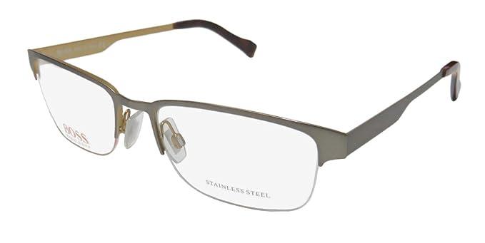 64a5f195ae Amazon.com  Hugo Boss Rx Eyeglasses - 0167 0FMR - Ruthenium Ecru (53 ...