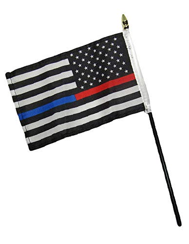 - Hebel USA Red Blue Line First Responders 4x6 Flag Desk Set Table Stick STF | Model FLG - 1077