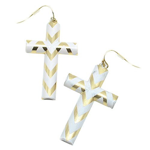 Gold and White Chevron Cross Earrings ()