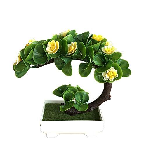 U-smile Flower Potted Plants, Artificial Half Moon Shape Lotus Plants Green Bonsai Decoration for Home Office Decor