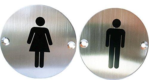 (Classy Unique Business Restaurant Men Women Restroom Toilet Signs Set, Stainless Steel, 3