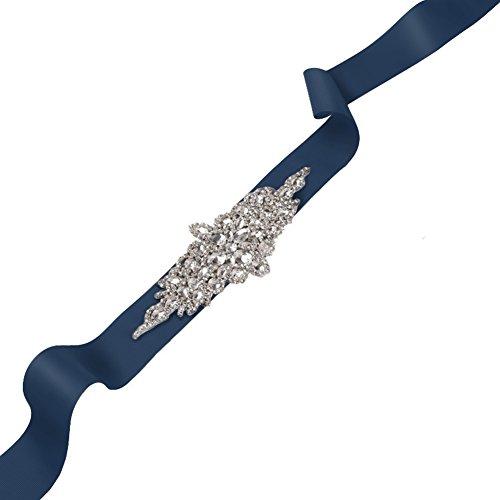 Kumeng Dazzling Glass Crystal Rhinestone Bridal Belt with Crystals for Wedding Dress Luxury Wedding Belt Bridal Sash (2 Meters, Navy Blue)