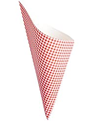 Conetek 10-Inch Eco-Friendly Finger Food Cones: Perfect for Appetizers – Food-Safe Paper Cone with Picnic Print Styling – Disposable and Recyclable – 100-CT – Restaurantware