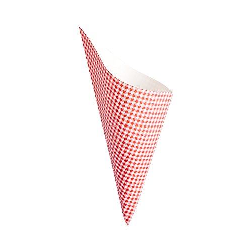 - Conetek 10-Inch Eco-Friendly Finger Food Cones: Perfect for Appetizers - Food-Safe Paper Cone with Picnic Print Styling - Disposable and Recyclable - 100-CT - Restaurantware