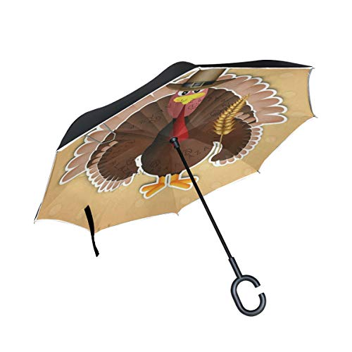 Reverse Umbrella Turkey Pilgrim Hat Autumn Leaves Windproof Double Layer Inverted Umbrella Anti-UV Protection with C-Shaped Handle for Car Outdoor Use