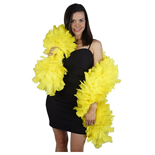 Large Natural Turkey Feather Boa - 6' Yellow Flapper Halloween Cosplay Costume Accessory -