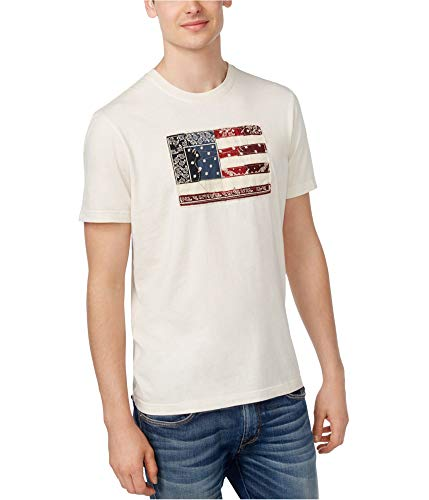 American Rag Mens Patch Flag Graphic T-Shirt, Off-White, Large