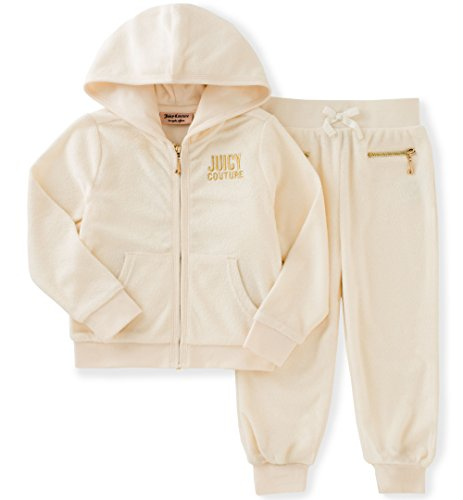 Juicy Couture Little Girls' Toddler 2 Piece Jog Set, Vanilla, 2T ()