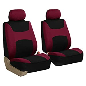 FH Group FB030BURGUNDY-COMBO Seat Cover Combo Set with Steering Wheel Cover and Seat Belt Pad (Airbag Compatible and…