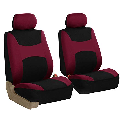 FH Group FH-FB030102 Light & Breezy Burgundy/Black Cloth Seat Cover Set Airbag & Split Ready- Fit Most Car, Truck, SUV, or Van