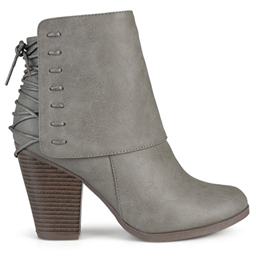 Leather Ankle Boot Lace (Brinley Co. Womens High Heel Corset Lace Chunky Heel Ankle Boots Grey)