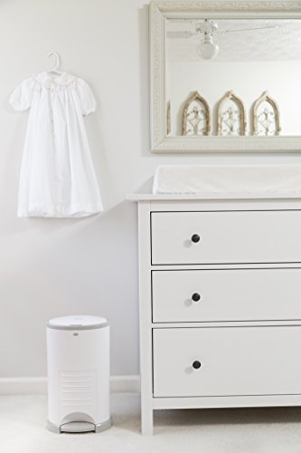 412diHHykwL - Dekor Mini Hands-Free Diaper Pail | White | Easiest To Use | Just Step – Drop – Done | Doesn't Absorb Odors | 20 Second Bag Change | Most Economical Refill System