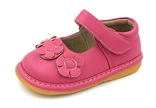 Little Mae's Boutique Squeaky Shoes | Hot Pink Three Flower Mary Jane Toddler Girl Shoes (8) ()