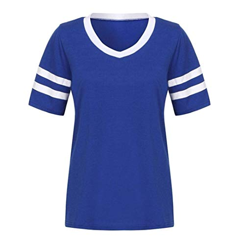 Shirt Confortable Jeune Courtes Blau Rayures Pullover BOLAWOO Tee Chic Sweatshirts Elgante Mode Cou Casual Et Femme Tshirts V Manches 5aBxZq