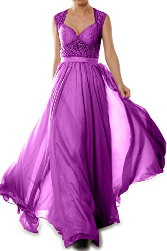 MACloth Women Chiffon Lace Illusion Long Prom Formal Dress Evening Party Gown Fuchsia