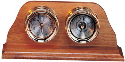 6'' Polished Brass Quartz Clock & Barometer Weather Station by HS