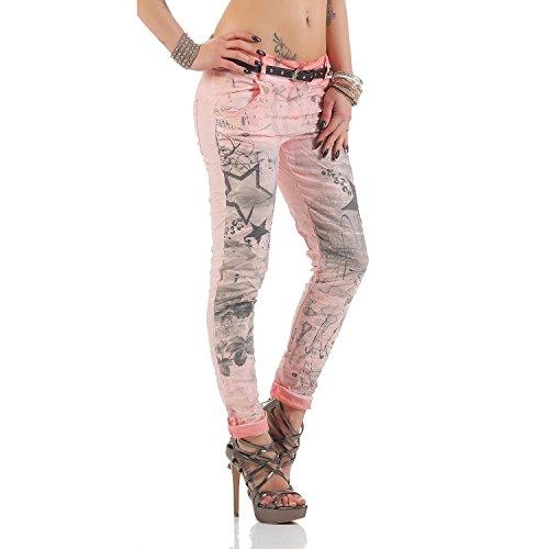 Jeggings pantaloni Donne jeans larghi Antico Stampa ZARMEXX cinghia Fidanzato Rosa stelle con pantaloni Chinos dei vqFxTZS