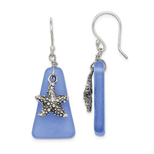 Mia Diamonds Sterling Silver Blue Sea Glass Starfish Dangle Earrings Fine Jewelry for Womens Gift Set