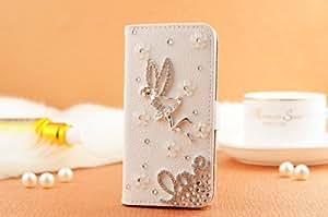 Handmade Luxury 3D Angel Crystal Leather Flip Case Cover For Samsung Galaxy S4 Mini 236B