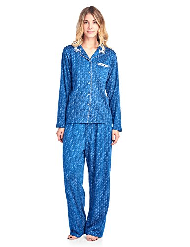 Casual Nights Women's Long Sleeve Floral Button Down Pajama Set - Navy Sparkle - Medium
