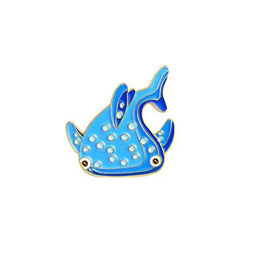ink2055 Ocean Style Brooch Pin Badge Cartoon Fish Sea Horse Dolphin Badge Denim Coat Jacket Backpack Decor - ()