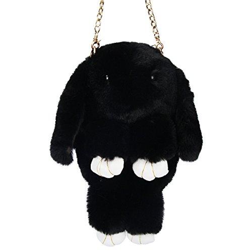 Black Bag Rabbit Evaliana Faux Bunny Crossbody Handbag Shoulder Fur qOv8xwg1O