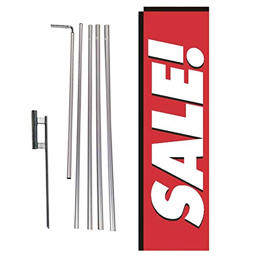 (Red Sale Rectangle Feather Banner Flag with Pole Kit and Ground Spike for Outdoor Advertising, Large Signs for Businesses)