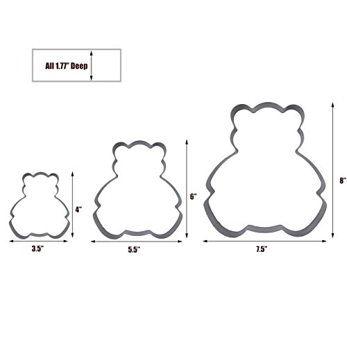 3 Tier Bear Multilayer Anniversary Birthday Cake Baking Pans,Stainless Steel 3 Sizes Rings Bear Molding Mousse Cake Rings(Bear-shapes,Set of 3) by Funwhale (Image #1)