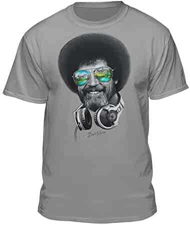 9d00de0f418a5 Teelocity DJ Bob Ross Officially-Licensed Headphone   Shades Men and Women  Short Sleeve T